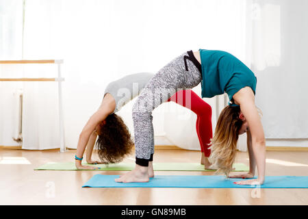 sporty yogi girls in class in yoga pose vrikshasana