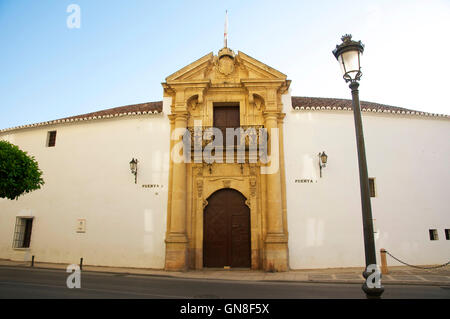 View of front of Ronda's bullring. - Stock Photo