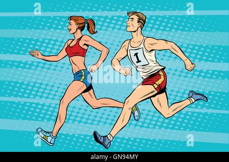 Man woman athletes running track and field summer games - Stock Photo