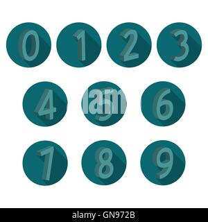 Icons volumetric numerals, vector illustration. - Stock Photo