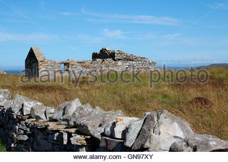 ruin at ring road on the island of rousay, orkney islands, scotland, united kingdom - Stock Photo