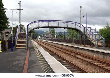 blair atholl railway station, perth and kinross, perthshire, grampian mountains, highlands, scotland, united kingdom - Stock Photo