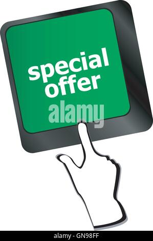special offer button on computer keyboard keys - Stock Photo