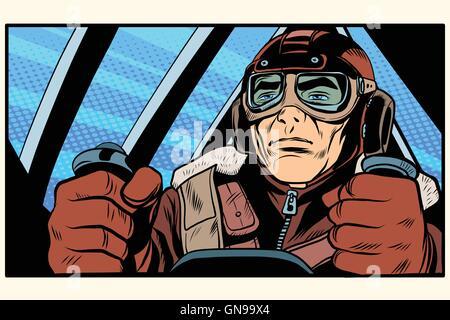 retro military Aviator pilot - Stock Photo