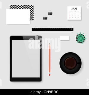 Vector mock-up creator for office workplace. Tablet, collection of stationary, cup of coffee, flower in pot. - Stock Photo