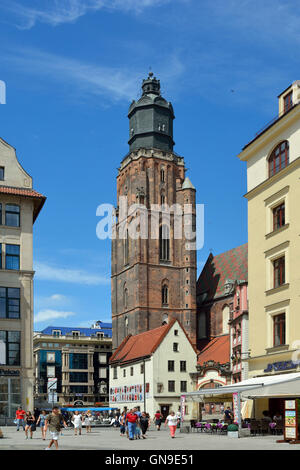 View from the Market Square in the historical Old Town of Wroclaw on the St. Elizabeth's Church in Poland. - Stock Photo