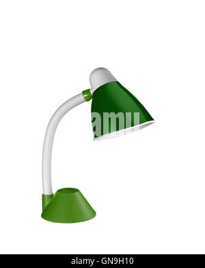 metalic green table lamp isolated on white background - Stock Photo