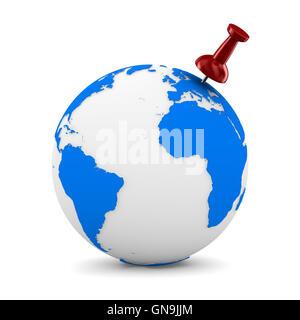 Red thumbtack on globe. Isolated 3D image - Stock Photo