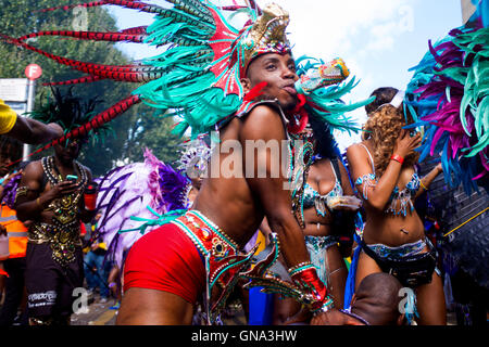 People in the Carnival parade at the 50th Notting Hill Carnival, London, August 29 2016. Credit:  wayne Tippetts/Alamy - Stock Photo