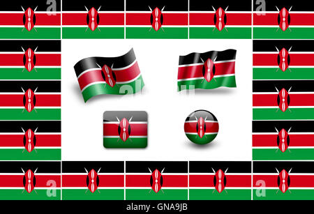 Flag of Kenya.  icon set. flags frame. - Stock Photo