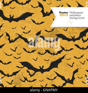 Seamless Halloween vector pattern with bats. Grunge layers can b - Stock Photo