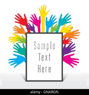 blank frame for write your text with colorful hand background design vector - Stock Photo