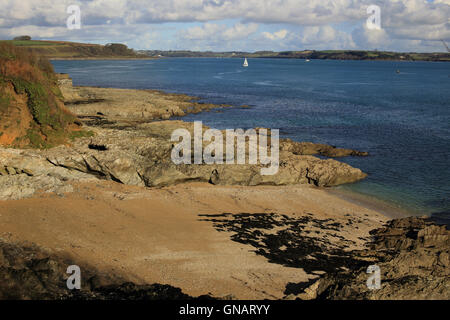 Across the Carrick Roads from Pendennis Head, Falmouth, Cornwall, England, UK. - Stock Photo