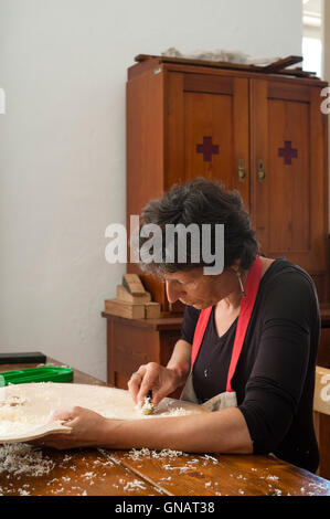 The Forest of Violins, Paneveggio, Italy. Giovanna Chittò, luthier (violin maker), using a plane to shape wood for - Stock Photo