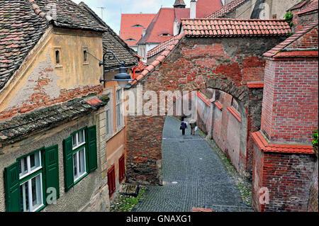View of the street of Sibiu city centre, Transylvania, Romania - Stock Photo