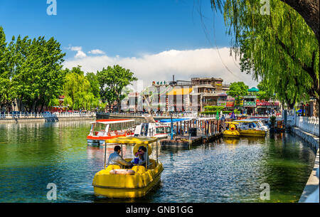 Boats on Qianhai lake in Shichahai scenic area of Beijing - Stock Photo