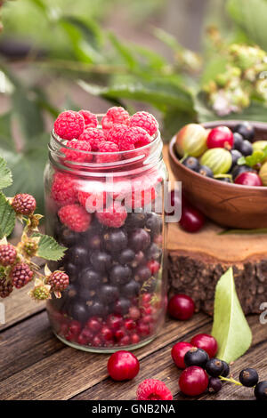 Glass jar of various berries - Stock Photo