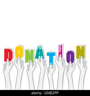 donation word hold in hand concept vector - Stock Photo