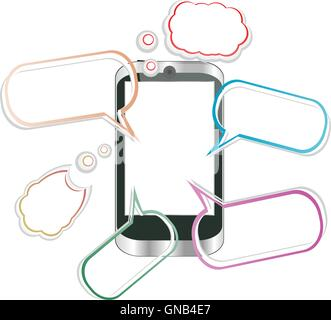 Modern mobile smart phone. Sending and Receiving SMS Messages vector illustration - Stock Photo