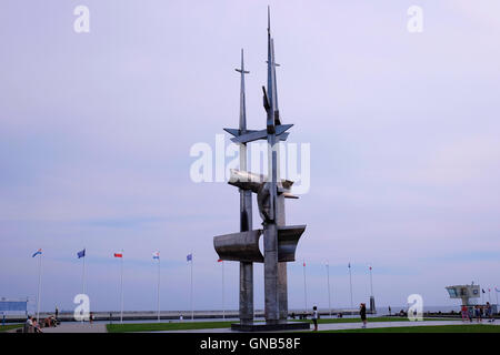 View of the 25 meters high steel units Three Masts monument in memory of people who died at sea, created by Wawrzyniec - Stock Photo