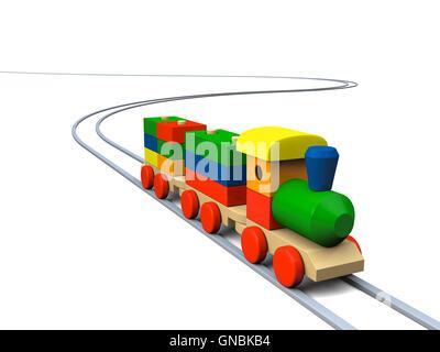 Wooden toy train illustration - Stock Photo