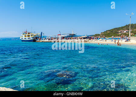 OURANOPOLIS, GREECE - JUNE 05, 2009: Original touristic cruise ships in bay near Athos mount - Stock Photo