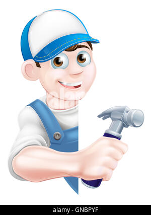 A cartoon handyman or carpenter in a cap hat and blue dungarees holding a hammer and peeking around a sign - Stock Photo