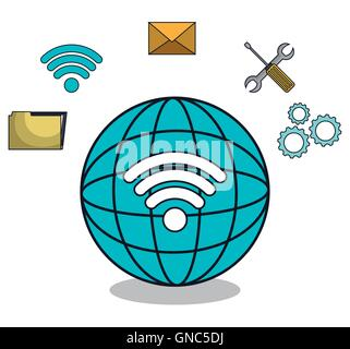 planet globe browser settings icons - Stock Photo