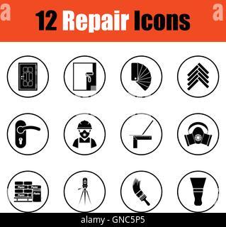 Set of flat repair icons.  Thin circle design. Vector illustration.