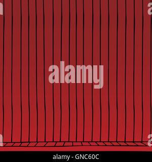 red curtain cartoon - Stock Photo