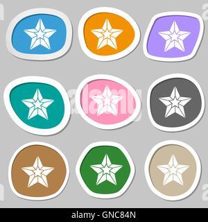 Star symbols. Multicolored paper stickers. Vector