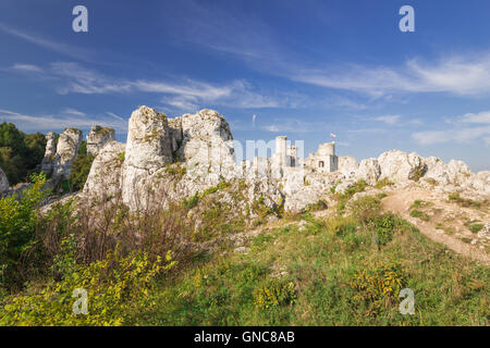 Scenic view of the castle ruins in Ogrodzieniec village. Poland - Stock Photo