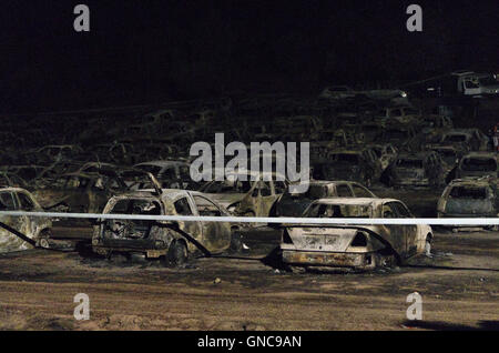 Image captured the day of the fire that occurred at the car park of the Dance Festival Andanças 2016 (August 3, - Stock Photo
