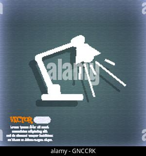 Reading-lamp icon. On the blue-green abstract background with shadow and space for your text. Vector - Stock Photo