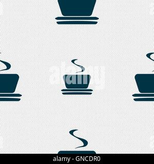 coffee, tea icon sign. Seamless pattern with geometric texture. Vector - Stock Photo