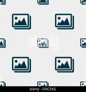 images, jpeg, photograph icon sign. Seamless pattern with geometric texture. Vector - Stock Photo