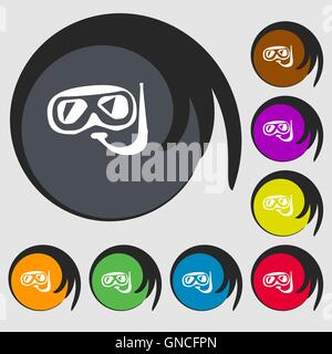 Diving sign icon. Symbols on eight colored buttons. Vector - Stock Photo