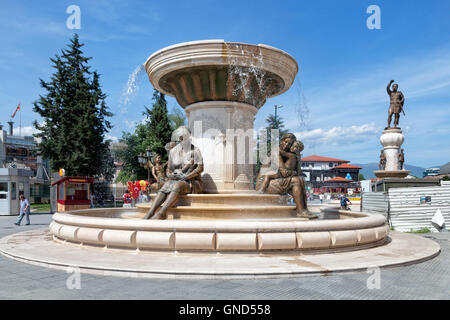 Water fountain of the Mothers of Macedonia in the center of Skopje - Stock Photo