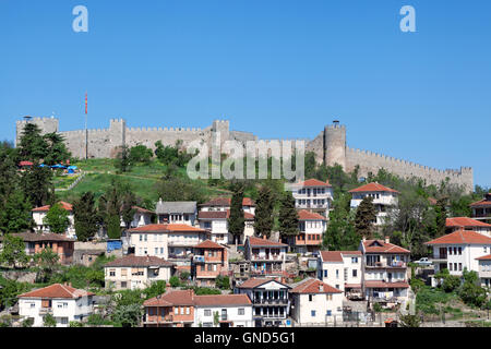View of Ohrid old town dominated by Samuil's fortress, Macedonia - Stock Photo
