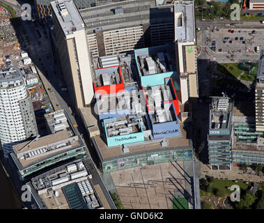 aerial view of the BBC Studios & MediaCity at Salford Quays, Manchester, UK - Stock Photo