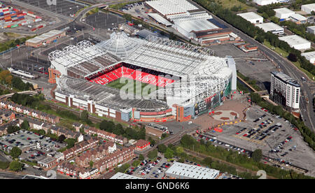 aerial view of Manchester United Old Trafford stadium premiership football ground - Stock Photo