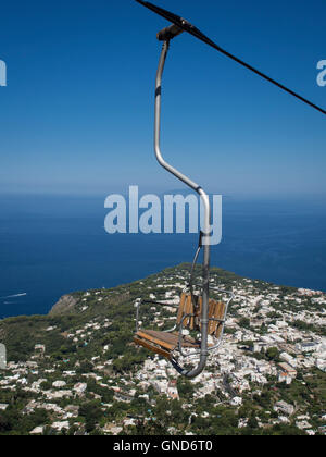 View from the chair lift  on Mount Solaro in Capri Italy - Stock Photo