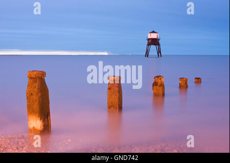 Long exposure of Dovercourt Lighthouse at night - Stock Photo