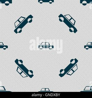 Car icon sign. Seamless pattern with geometric texture. Vector - Stock Photo