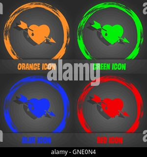 Arrow heart icon. Fashionable modern style. In the orange, green, blue, red design. Vector - Stock Photo
