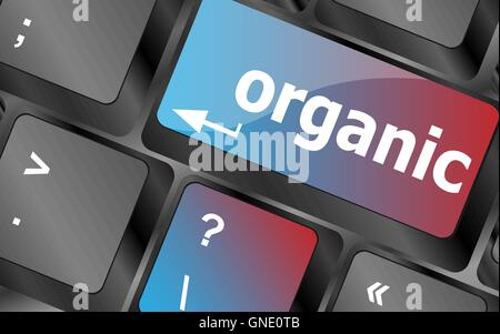 organic word on green keyboard button vector , keyboard keys, keyboard button - Stock Photo