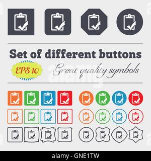 Document grammar control, Test, work complete icon sign. Big set of colorful, diverse, high-quality buttons. Vector - Stock Photo