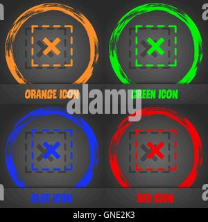 Cross in square icon. Fashionable modern style. In the orange, green, blue, red design. Vector - Stock Photo
