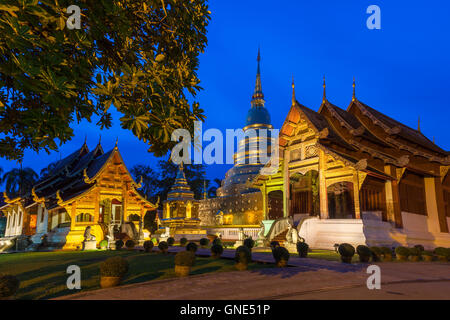 Dusk View of the Wat Phra Singh temple, the most revered temple in Chiang Mai, Thailand.