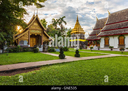 Wat Chiang Man at sunset, the oldest temple in Chiang Mai, Thailand.